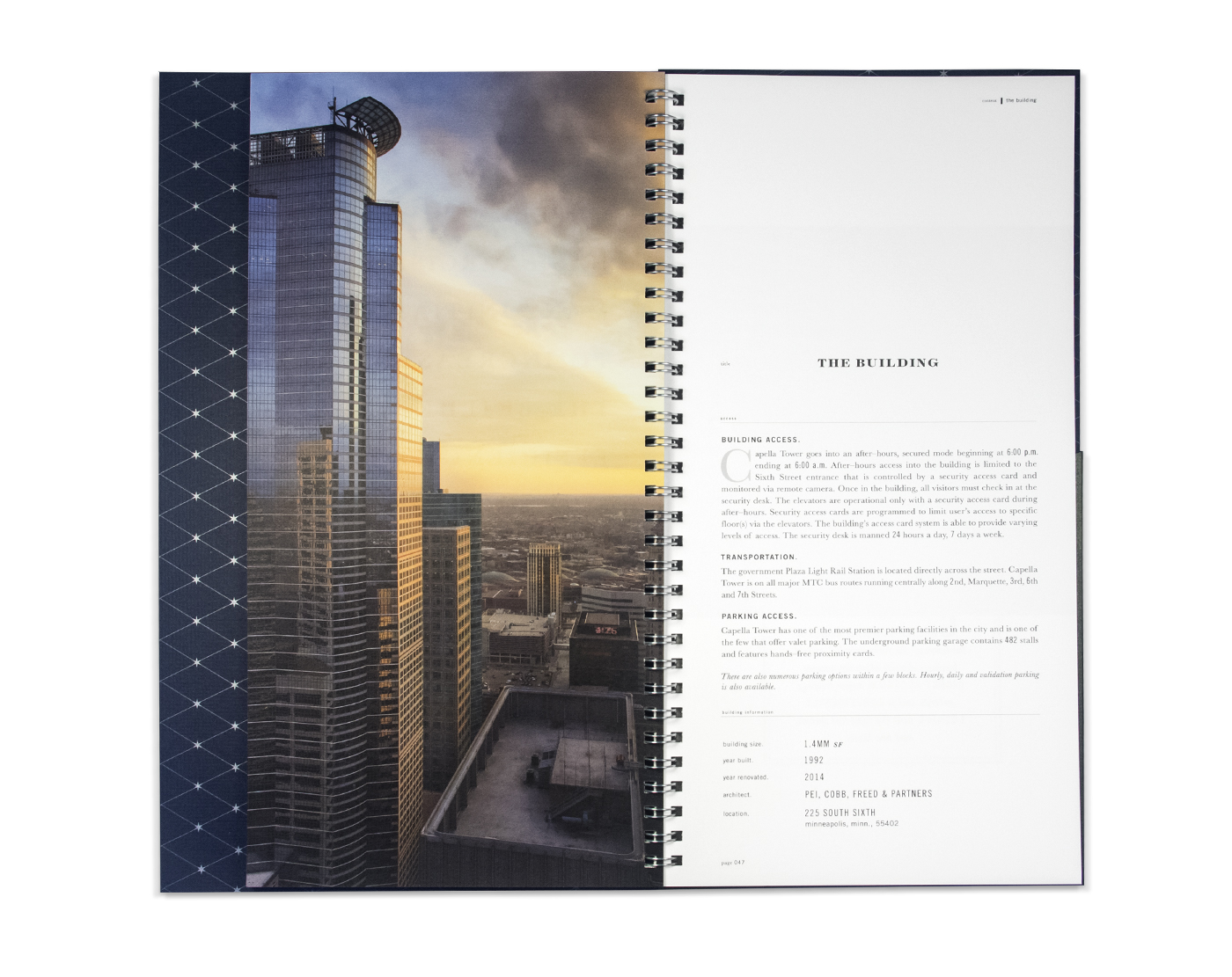 Brochure building branding for Capella Tower Minneapolis, Minnesota