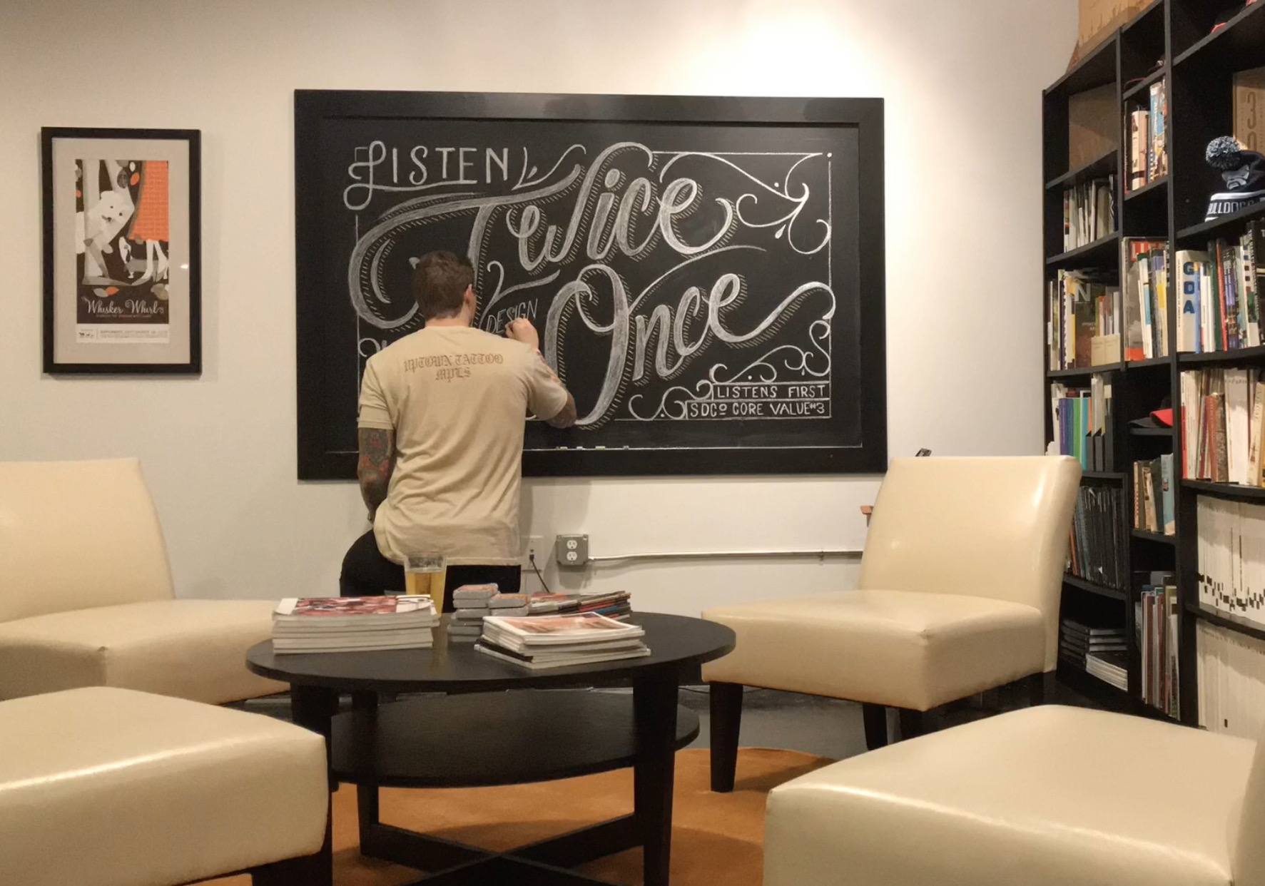 Core Value #3 – Listens First. Chalkboard Lettering