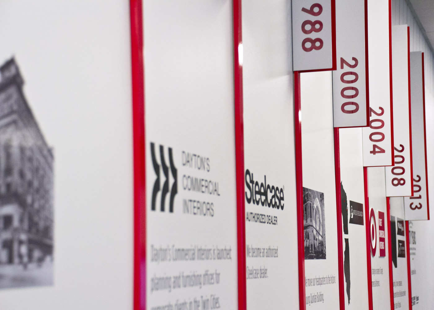 Target Commercial interiors dimensional timeline wall